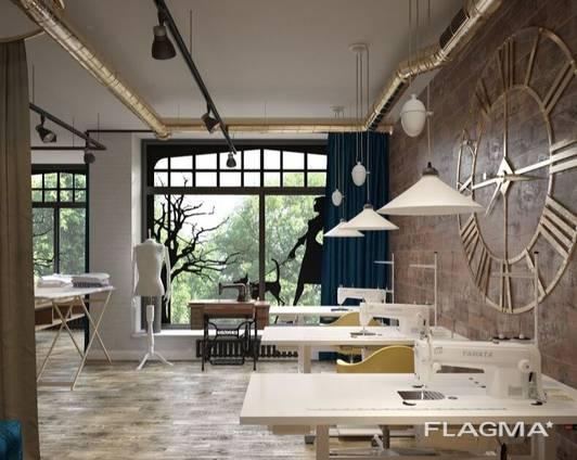 Design for office, bank, restaurant, bar, beauty salon